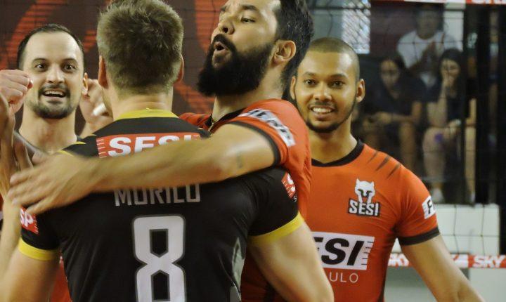 SESI-SP vence Corinthians-Guarulhos por 3 sets a 0 e larga na frente nos playoffs
