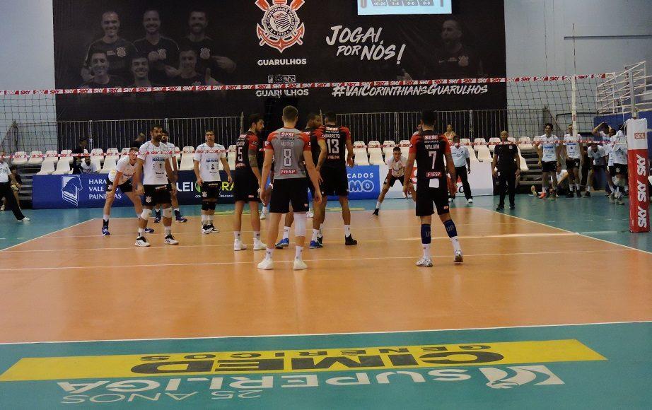 Superliga Masculina de Vôlei 2018 – 2019 – Returno – 4ª Rodada – Momentos finais de Corinthians Guarulhos 0 X 3 SESI-SP